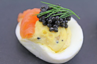 """Everything"" Deviled Egg with Smoked Salmon and Caviar"