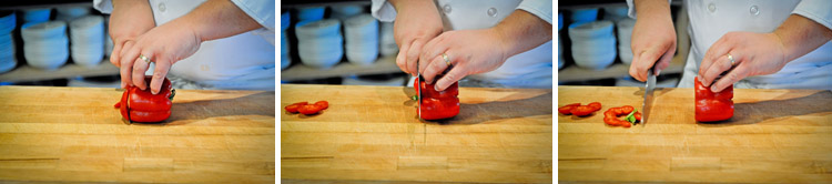 how to cut a bell pepper step one