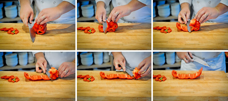 how to cut a bell pepper step two
