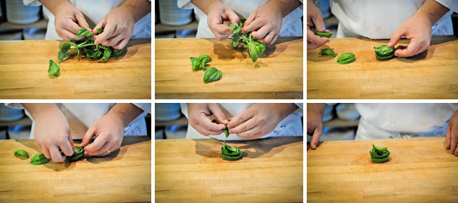 how to chiffonade step one