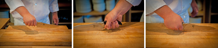 how to hold a chef's knife step one