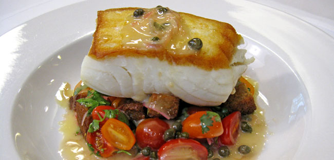 Pan-Roasted Halibut With An Iberian Stew Of Chickpeas, Chorizo, And ...
