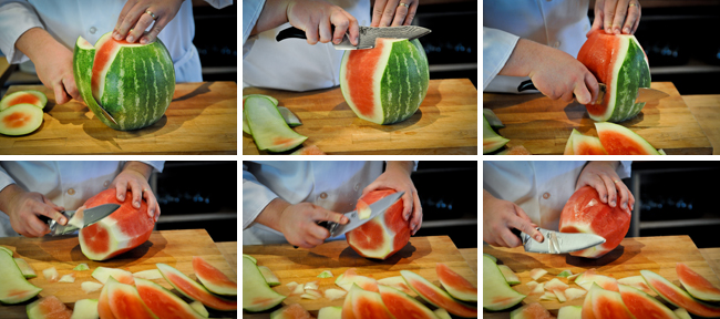 How to Peel and Slice a Watermelon - Step Two - Culinary Knife Skills