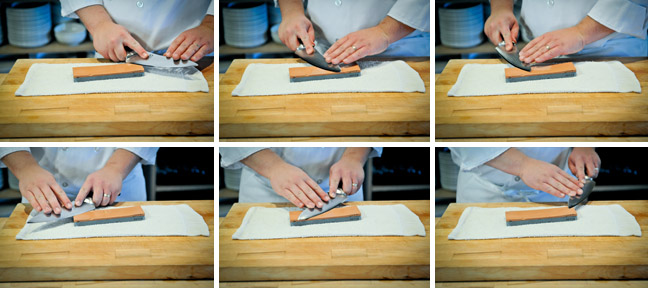 How to Sharpen a Knife Using a Water Stone - Step Three
