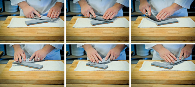 How to Sharpen a Knife Using a Water Stone - Step Four