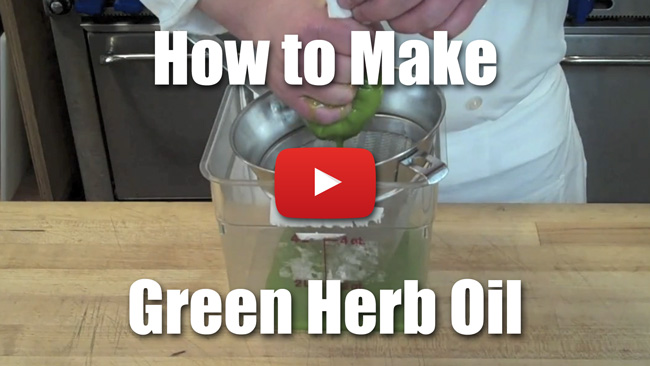How to Make Green Herb Oil Demonstrated with Basil - Video