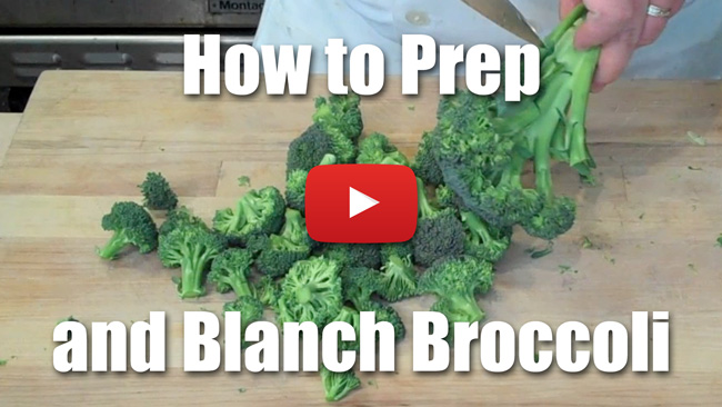 How to Prepare Broccoli - Peel Stem, Blanch Florets - Video Technique