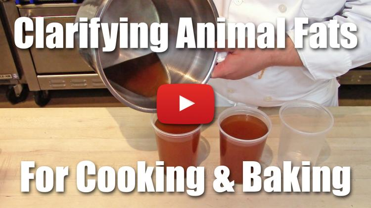 This video demonstrates how to take fat from the stock making process and refine it for use in cooking and pastry.