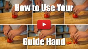 This video will teach you how to use your guide hand for more accurate culinary cuts.
