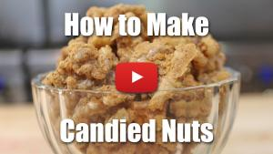 This video will teach you how to make candied nuts to use as a garnish for salads, pies, desserts, and more.